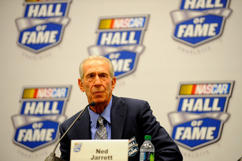 CHARLOTTE, NC - MAY 23:  Class of 2011 Inductee Ned Jarrett speaks to the media after the 2011 NASCAR Hall of Fame induction ceremonies at the Charlotte Convention Center on May 23, 2011 in Charlotte, North Carolina.  (Photo by Jared C. Tilton/Getty Image