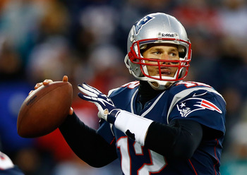 Tom Brady threw for 284 yards and two touchdowns against the Dolphins on Sunday.