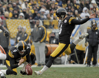 PITTSBURGH, PA - DECEMBER 30:  Shaun Suisham #6 of the Pittsburgh Steelers kicks a field goal in the first half against the Cleveland Browns during the game on December 30, 2012 at Heinz Field in Pittsburgh, Pennsylvania.  (Photo by Justin K. Aller/Getty