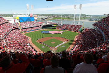 CINCINNATI, OH - APRIL 05:  An overall view of the stadium during the National Anthem before the Miami Marlins game against the Cincinnati Reds on Opening Day at Great American Ball Park on April 5, 2012 in Cincinnati, Ohio.  (Photo by Andy Lyons/Getty Im
