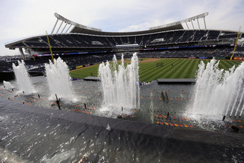 KANSAS CITY, MO - APRIL 10:  A general view from behind right field displaying the fountains during opening day festivities at renovated Kauffman Stadium prior to the New York Yankees against the Kansas City Royals on April 10, 2009 in Kansas City, Missou