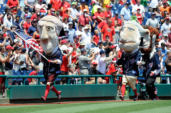 WASHINGTON, DC - JULY 04:  The Presidents race during the game between the San Francisco Giants and the Washington Nationals at Nationals Park on July 4, 2012 in Washington, DC.  (Photo by Greg Fiume/Getty Images)