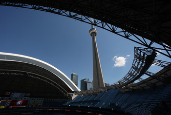TORONTO, CANADA - JULY 1: The roof of the Rogers Centre opens before the Los Angeles Angels of Anaheim game against the Toronto Blue Jays on July 1, 2012 at Rogers Centre in Toronto, Ontario, Canada. (Photo by Tom Szczerbowski/Getty Images)