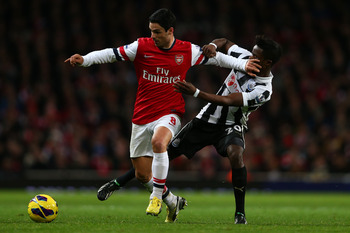Mikel Arteta battles away against Newcastle.