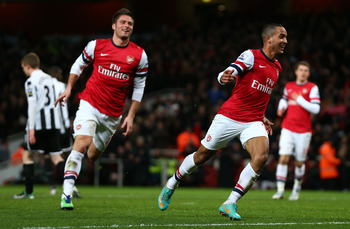 Arsenal's goalscoring pair of Giroud and Walcott.