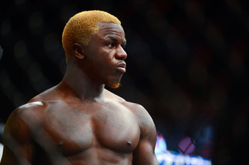 August 11, 2012; Denver, CO, USA; Melvin Guillard before the start of the fight against Donald Cerrone (not pictured) during UFC 150 at the Pepsi Center. Mandatory Credit: Ron Chenoy-USA TODAY Sports