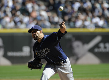 CHICAGO, IL - SEPTEMBER 30: David Price #14 of the Tampa Bay Rays pitches against the Chicago White Sox in the first inning on September 30,  2012 at U.S. Cellular Field in Chicago, Illinois. (Photo by David Banks/Getty Images)