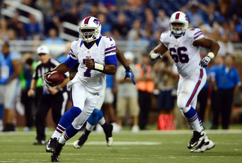 A rare sighting of Tarvaris Jackson in a Bills uniform in 2012.