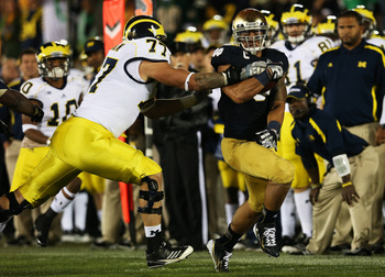 "Lewan got to play ""defense"" frequently against Notre Dame"