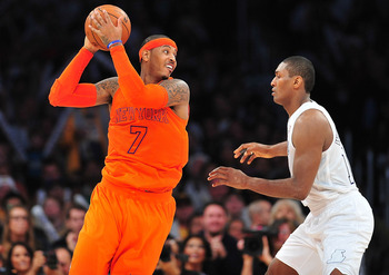 Even Carmelo has a tough time scoring over Metta.