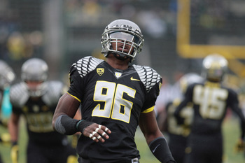 October 27, 2012; Eugene, OR, USA; Oregon Ducks defensive end Dion Jordan (96) pre game warm up against the Colorado Buffaloes at Autzen Stadium. Mandatory Credit: Scott Olmos-USA TODAY Sports