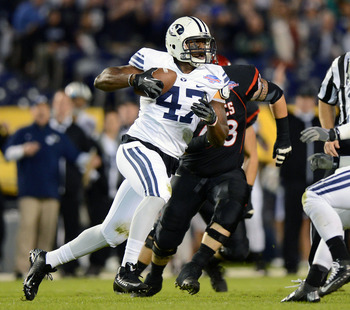 Dec 20, 2012; San Diego, CA, USA; Brigham Young Cougars linebacker Ezekiel Ansah (47) runs after intercepting a pass during the first quarter of the Poinsettia Bowl against the San Diego State Aztecs at Qualcomm Stadium. Mandatory Credit: Jake Roth-USA TO