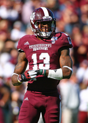 Nov 17, 2012; Starkville, MS, USA;  Mississippi State Bulldogs defensive back Johnthan Banks (13) during the game against the Arkansas Razorbacks at Davis Wade Stadium.   Mississippi State Bulldogs defeated the Arkansas Razorbacks 45-14.  Mandatory Credit