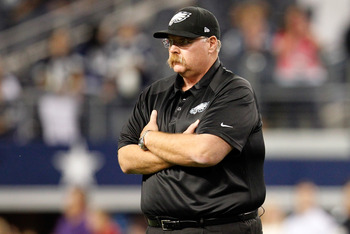 ARLINGTON, TX - DECEMBER 02:  Head coach Andy Reid of the Philadelphia Eagles prepares to take on the Dallas Cowboys at Cowboys Stadium on December 2, 2012 in Arlington, Texas.  (Photo by Tom Pennington/Getty Images)