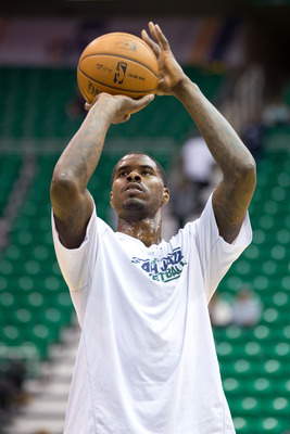 Dec 12, 2012; Salt Lake City, UT, USA; Utah Jazz power forward Marvin Williams (2) warms up prior to a game against the San Antonio Spurs at EnergySolutions Arena. Mandatory Credit: Russ Isabella-USA TODAY Sports