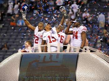 New York Giants celebrating their 2012 Superbowl victory