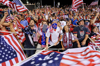 COLUMBUS, OH - SEPTEMBER 11:  Fans of Team USA cheer on the Americans as they play the Jamaican National Team on September 11, 2012 at Crew Stadium in Columbus, Ohio.  (Photo by Jamie Sabau/Getty Images)
