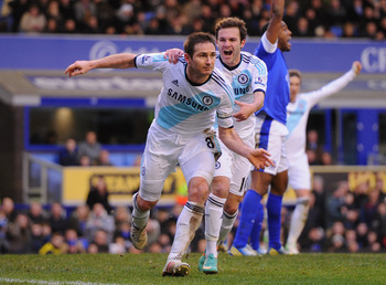 Frank Lampard scored both Chelsea goals in the 2-1 win at Everton on Sunday
