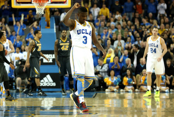 LOS ANGELES, CA - DECEMBER 28: Jordan Adams #3 of the UCLA Bruins celebrates at the end of regulation after UCLA cam back to force overtime against the Missouri Tigers at Pauley Pavilion on December 28, 2012 in Los Angeles, California.  UCLA won 97-94 in