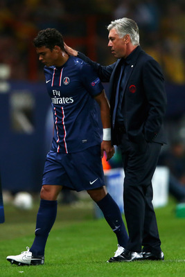 PSG captain Thiago Silva with coach Ancelotti