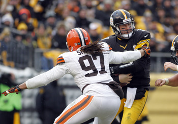 Defensive end Jabaal Sheard is one of a scant few players on the Browns' current roster who were acquired in free agency.