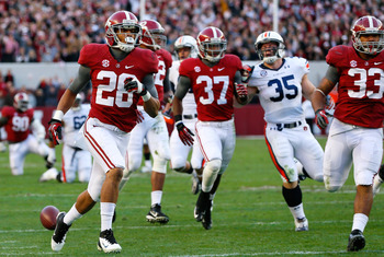 TUSCALOOSA, AL - NOVEMBER 24:  Dee Milliner #28 of the Alabama Crimson Tide reacts after recovering a fumble by the Auburn Tigers at Bryant-Denny Stadium on November 24, 2012 in Tuscaloosa, Alabama.  (Photo by Kevin C. Cox/Getty Images)