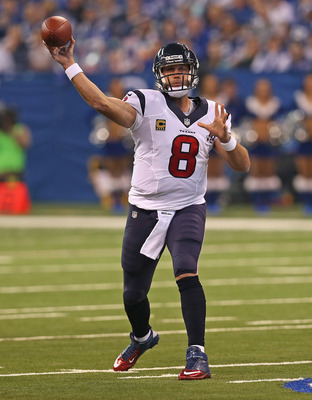 INDIANAOPLIS, IN - DECEMBER 30: Matt Schaub #8 of the Houston Texans passes against the Indianapolis Colts at Lucas Oil Stadium on December 30, 2012 in Indianapolis, Indiana. (Photo by Jonathan Daniel/Getty Images)