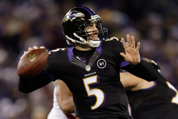BALTIMORE, MD - DECEMBER 23: Quarterback Joe Flacco #5 of the Baltimore Ravens throws a second half pass against the New York Giants at M&T Bank Stadium on December 23, 2012 in Baltimore, Maryland.  (Photo by Rob Carr/Getty Images)