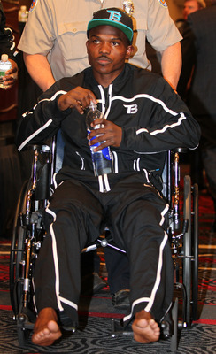 Timothy Bradley attends the post-fight press conference in a wheelchair.