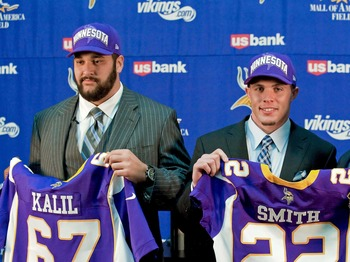 General manager Rick Spielman found two starters in the first round of the 2012 draft.