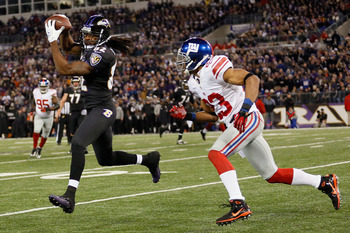 Corey Webster chasing Torrey Smith of the Baltimore Ravens.