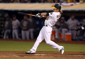 OAKLAND, CA - OCTOBER 10:  Josh Reddick #16 of the Oakland Athletics bats against the Detroit Tigers during Game Four of the American League Division Series at Oakland-Alameda County Coliseum on October 9, 2012 in Oakland, California.  (Photo by Ezra Shaw