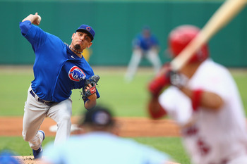 ST. LOUIS, MO - JULY 21: Starter Matt Garza #22 of the Chicago Cubs pitches against the St. Louis Cardinals at Busch Stadium on July 21, 2012 in St. Louis, Missouri.  (Photo by Dilip Vishwanat/Getty Images)
