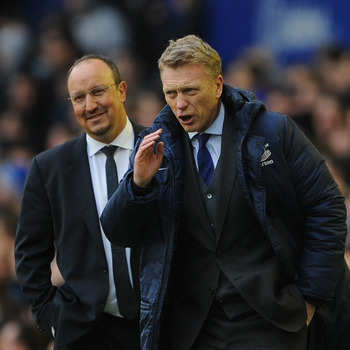 Interim Chelsea manager Rafa Benitez with David Moyes, who has been in charge of Everton since 2002.