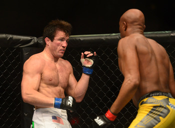 The look on Sonnen's face tells us that he realized the world of hurt that he was about to experience.