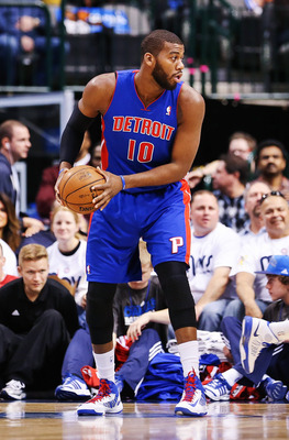 Dec 01, 2012; Dallas, Tx, USA; Detroit Pistons center Greg Monroe (10) during the game against the Dallas Mavericks  at the American Airlines Center. Dallas won 92-77.  Mandatory Credit: Kevin Jairaj-USA TODAY Sports