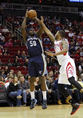 Dec 22, 2012; Houston, TX, USA; Memphis Grizzlies power forward Zach Randolph (50) takes a shot against the Houston Rockets in the first quarter at the Toyota Center. Mandatory Credit: Brett Davis-USA TODAY Sports