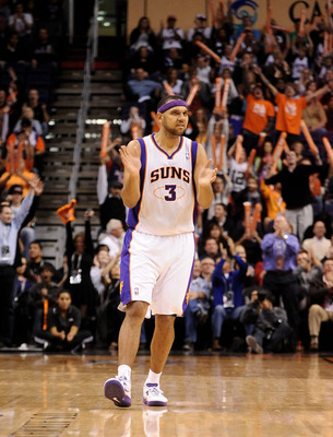 Dec. 17, 2012; Phoenix, AZ, USA; Phoenix Suns forward Jared Dudley (3) claps on the court in the second half against the Sacramento Kings at US Airways Center. The Suns defeated the Kings 101-90.  Mandatory Credit: Jennifer Stewart-USA TODAY Sports