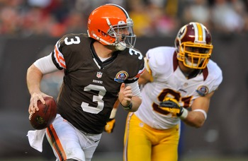 QB Brandon Weeden being chased during the Washington Redskins game