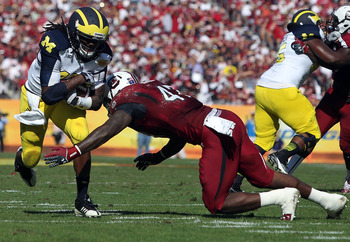 Denard Robinson played primarily at running back for the Wolverines in the Outback Bowl.
