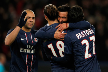 Ibra and teammates celebrate yet another goal