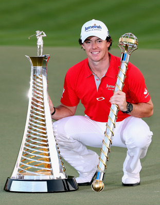 Rory McIlroy with the 2012 Race to Dubai trophies