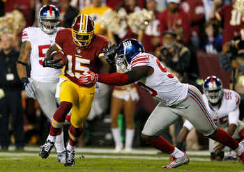 Josh Morgan catches an RG3 Fumble and takes it into the end zone for a touchdown against the New York Giants on Dec. 3