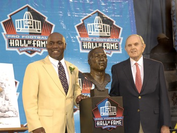 Wilson with running back Thurman Thomas, who was instrumental in Buffalo's four consecutive Super Bowl appearances