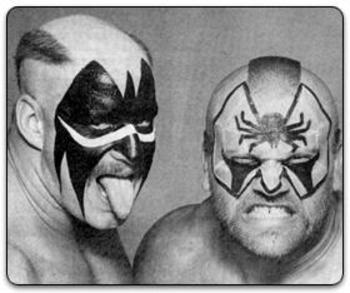 Hawk and Animal's inverted hairstyles were as weird as their face paint. Photo Courtesy of wrestlingmuseum.com