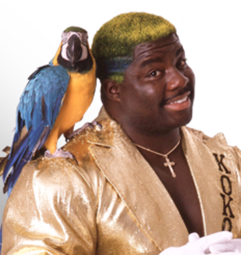Koko B. Ware had a colorful parrot...and hairstyle. One of them looked nice. Photo Courtesy of WWE.com