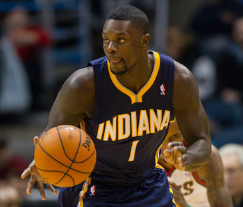 Dec 18, 2012; Milwaukee, WI, USA;  Indiana Pacers guard Lance Stephenson (1) during the game against the Milwaukee Bucks at the BMO Harris Bradley Center.  The Bucks won 98-93.  Mandatory Credit: Jeff Hanisch-USA TODAY Sports