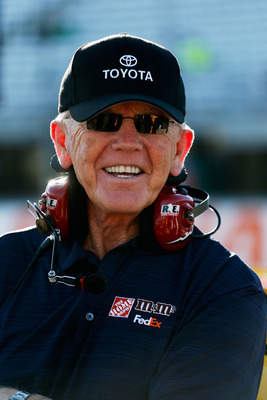 LOUDON, NH - SEPTEMBER 21:  Team owner Joe Gibbs stands on pit road during qualifying for the NASCAR Sprint Cup Series Sylvania 300 at New Hampshire Motor Speedway on September 21, 2012 in Loudon, New Hampshire.  (Photo by Jamie Squire/Getty Images)