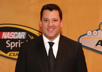 LAS VEGAS, NV - NOVEMBER 30:  Tony Stewart, driver of the #14 Office Depot/Mobil 1 Chevrolet, arrives on the red carpet for the NASCAR Sprint Cup Series Champion's Awards at the Wynn Las Vegas on November 30, 2012 in Las Vegas, Nevada.  (Photo by John Gur