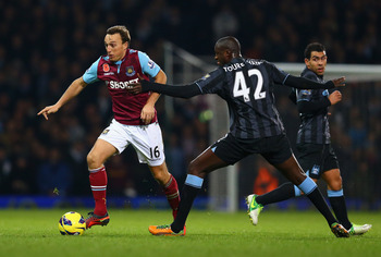 West Ham's Mark Noble in action against Manchester City